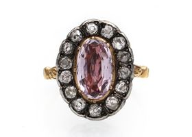 Early Victorian pink topaz and diamond oval cluster ring