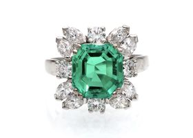 2.70ct Colombian emerald and diamond floral cluster ring