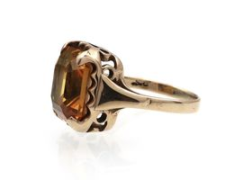 Vintage synthetic yellow sapphire dress ring in yellow gold
