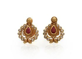 Vintage pear shape ruby and diamond cluster earrings