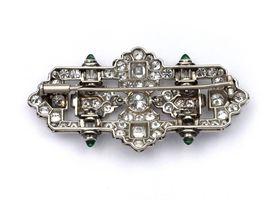 Art Deco openwork diamond and emerald plaque brooch