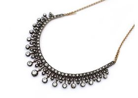 Antique diamond set fringe necklace in silver and 18kt yellow gold