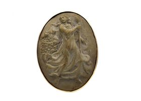 Antique lava cameo ring of the Goddess Hera