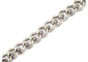 Vintage 9kt white gold fancy ribbed bracelet