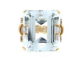 Vintage 30ct aquamarine and diamond wirework cocktail ring