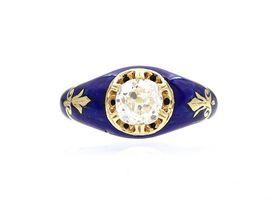 Victorian diamond solitaire ring with royal blue enamel
