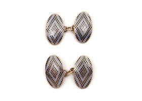 Antique 9kt yellow gold double oval blue and black enamel cufflinks