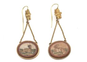 Antique micro mosaic dog drop earrings in yellow gold