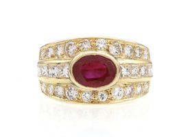 Retro ruby and diamond three row ring in 18kt yellow gold