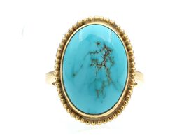 Vintage oval turquoise dress ring in 9kt yellow gold