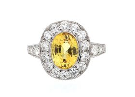 Vintage style oval yellow sapphire and diamond cluster ring