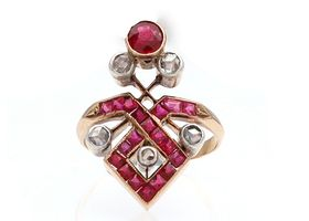 Antique synthetic ruby and diamond crossover cluster ring