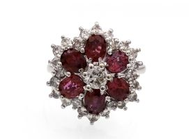 Vintage diamond and ruby floral cluster ring in 18kt white gold