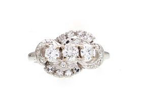 1950s diamond three stone cluster ring in 14kt white gold