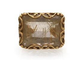 1970s rutilated quartz cocktail ring in 14kt yellow gold