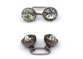 Antique sterling silver and paste cufflinks