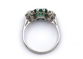 Vintage emerald and diamond three stone ring in 18kt white gold