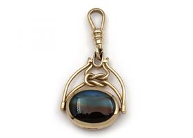 Vintage malachite and agate spinner fob in yellow gold
